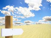 Empty wooden sign in desert — Stock Photo