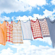 Stock Photo: Laundry hanging over sky
