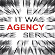 Blured text with focus on AGENCY — Stock Photo