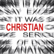 Foto Stock: Blured text with focus on CHRISTIAN