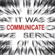 Blured text with focus on COMMUNICATE — Stock Photo