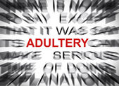 Blured text with focus on ADULTERY — Stock Photo