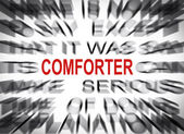 Blured text with focus on COMFORTER — Stock Photo
