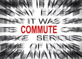 Blured text with focus on COMMUTE — Stock Photo