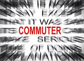Blured text with focus on COMMUTER — Stock Photo