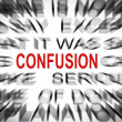 Blured text with focus on CONFUSION — Stock Photo