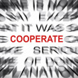 Blured text with focus on COOPERATE — Stock Photo