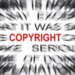 Stock Photo: Blured text with focus on COPYRIGHT