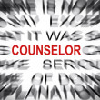 Blured text with focus on COUNSELOR — Stock Photo