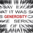 Blured text with focus on GENEROSITY — Stock Photo