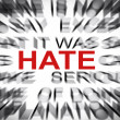 Blured text with focus on HATE — Stock Photo