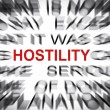 Blured text with focus on HOSTILITY — Stock Photo