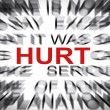 Blured text with focus on HURT — Stock Photo