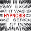 Stock Photo: Blured text with focus on HYPNOSIS
