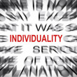 Blured text with focus on INDIVIDUALITY — Stock Photo