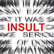 Stock Photo: Blured text with focus on INSULT