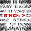 Stock Photo: Blured text with focus on INTELIGENCE
