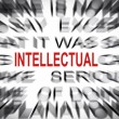 Stock Photo: Blured text with focus on INTELLECTUAL