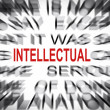 Blured text with focus on INTELLECTUAL — Stock Photo