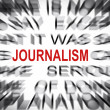 Stock Photo: Blured text with focus on JOURNALISM