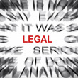 Stock Photo: Blured text with focus on LEGAL