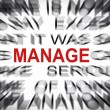 Blured text with focus on MANAGE — Stock Photo