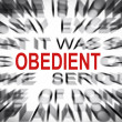 Stock Photo: Blured text with focus on OBEDIENT