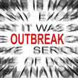 Blured text with focus on OUTBREAK — Stock Photo