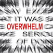 Stock Photo: Blured text with focus on OVERWHELM