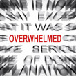 Blured text with focus on OVERWHELMED — Lizenzfreies Foto