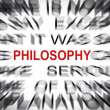 Stock Photo: Blured text with focus on PHILOSOPHY