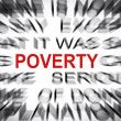 Blured text with focus on POVERTY — Stock Photo