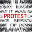 Blured text with focus on PROTEST — Stock Photo