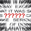 Blured text with focus on QUESTION MARK SIGN ? — Stock Photo