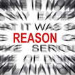 Stock Photo: Blured text with focus on REASON