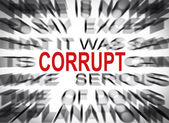 Blured text with focus on CORRUPT — 图库照片