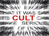 Blured text with focus on CULT — Zdjęcie stockowe