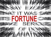 Blured text with focus on FORTUNE — Stock Photo