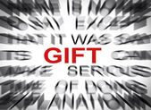 Blured text with focus on GIFT — Stock Photo