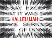 Blured text with focus on HALLELUJAH — Stockfoto