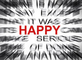 Blured text with focus on HAPPY — Foto de Stock