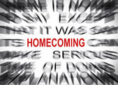 Blured text with focus on HOMECOMING — Stock Photo