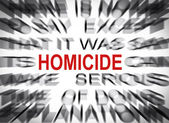 Blured text with focus on HOMICIDE — Stock Photo