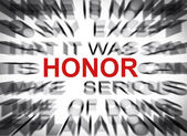 Blured text with focus on HONOR — Stock Photo