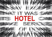 Blured text with focus on HOTEL — Stock Photo