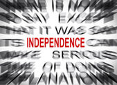 Blured text with focus on INDEPENDENCE — Stock Photo