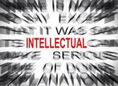 Blured tekst z naciskiem na intelektualnej — Zdjęcie stockowe