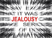 Blured text with focus on JEALOUSY — Stock Photo
