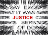 Blured text with focus on JUSTICE — Zdjęcie stockowe