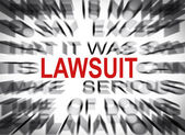 Blured text with focus on LAWSUIT — Stock Photo